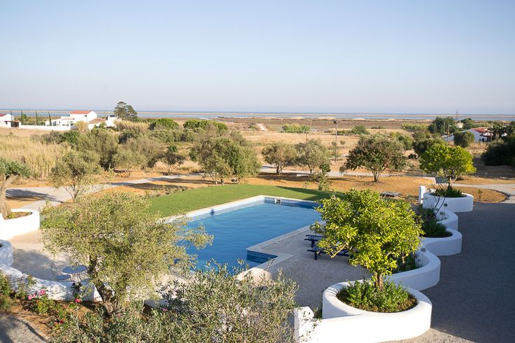 View of the main pool, the Ria Formosa Natural Parc and the sea