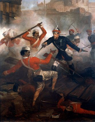 Lieutenant William Kerr winning the VC, July 1857Lieutenant Kerr, 24th Bombay Native Infantry, won the Victoria Cross for his action in defending himself and others fighting in the stronghold or Paga, near the town of Kolapore in July 1857, during the Indian Mutiny (1857-1859). Kerr was severely wounded, while of his 17 men (all sowars of the South Mahratta Irregular Horse), eight were killed outright, another four died later of their wounds, and the rest were all severely wounded.