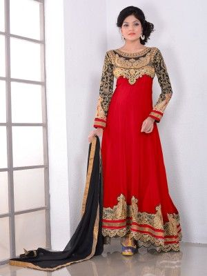 Red Georgette Lovely Anarkali Salwar Kameez      Eid in india