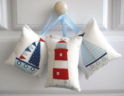 3 door hangers ~ beach huts, boats, bunting, lighthouses, seaside, nautical (d) | eBay