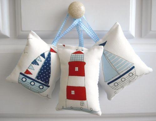 3 door hangers ~ beach huts, boats, bunting, lighthouses, seaside, nautical (d) | eBay
