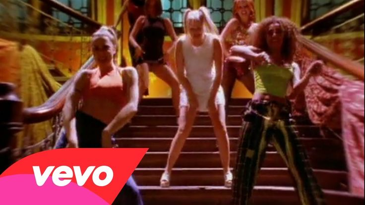 Spice Girls always appear with their flashy and glitering outfits. Their outfits reminded me of the 1930s glamour. In this music video, some of them were wearing crop tops with pants and snickers, very sporty look. And I've never seen crop top until the 1990s.