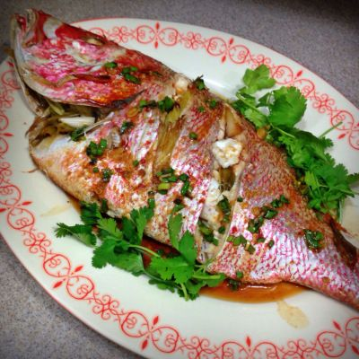 Ginger Scallion Red Snapper | Whole fish baked in foil