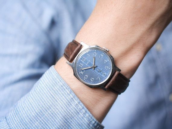 Blue shiny face watch Pobeda  christmas gift watch  by somesoviet