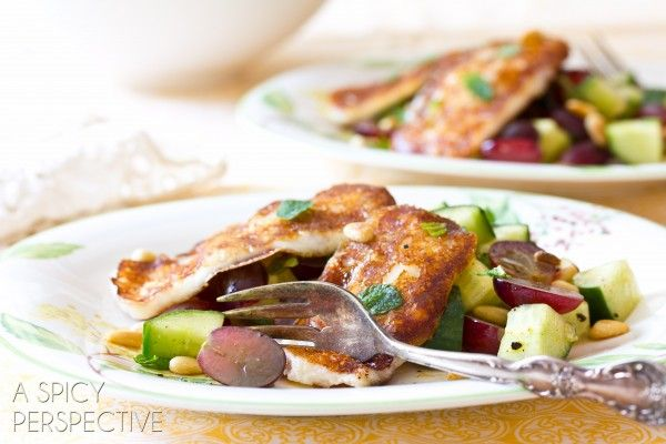 Grilled Cheese Salad with Apple Vinaigrette Grapes and Fresh Mint | ASpicyPerspective.com #salad #grilledcheese #vegetarian