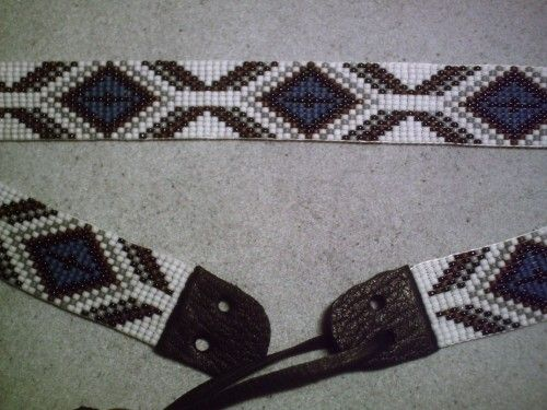 Hat Bands Indian Beadwork Patterns | Native American Style Loom Beaded Hat Band~Geometric beaded hatband