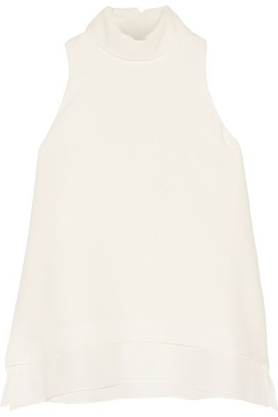 Ivory crepe Button-fastening keyhole at back 69% triacetate, 31% polyester; trim: 100% silk; lining: 100% polyester Dry clean