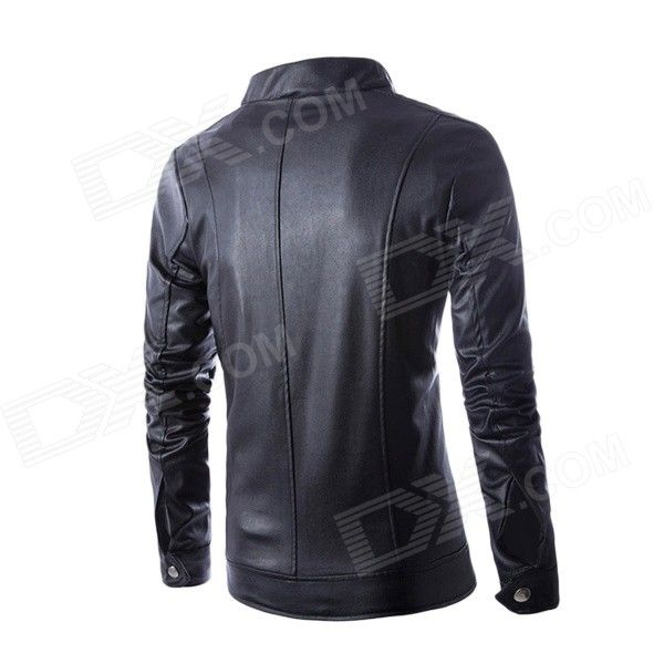 PY15 Men's Korean Style Fashionable Slim Collar Double Zipper PU Motorcycle Jacket - Black (XL)