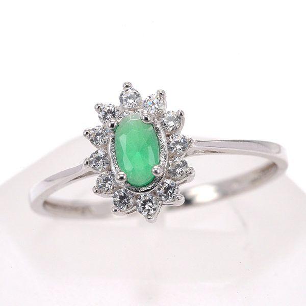 Δαχτυλίδι ροζέτα  λευκόχρυσο Κ14 πράσινο ζιργκόν 8483