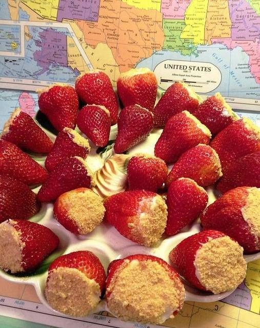 Cheesecake filled strawberries.