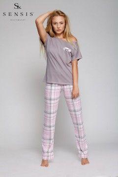 Piżama Kiss Me, krótki rękaw + długie spodnie