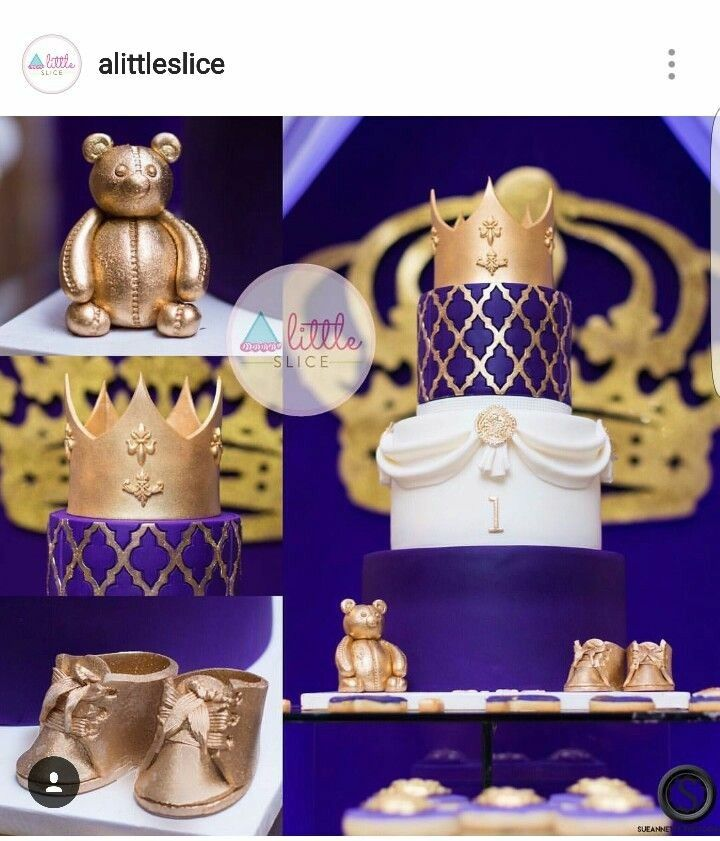 gold purple and white royal baby shower cake