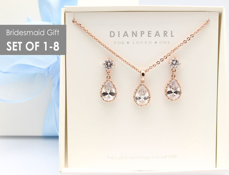 Crystal Rose Gold Jewelry Set, Bridesmaid gift