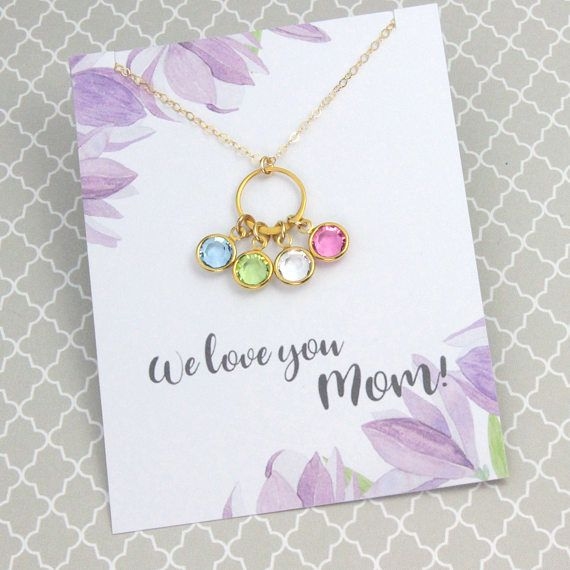 """Mother's Birthstone Necklace, Silver or Gold Link, With/Without Message Card, Lovely Birthday Gift, """"We Love You Mom"""""""