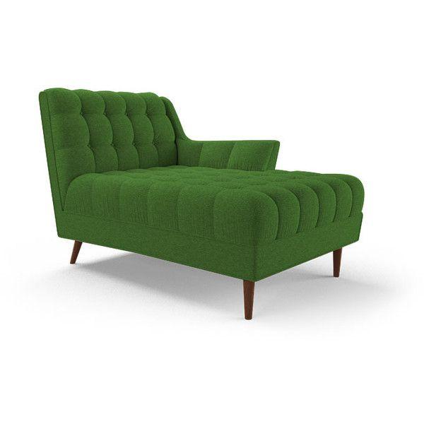 joybird fitzgerald mid century modern green single arm chaise liked on polyvore