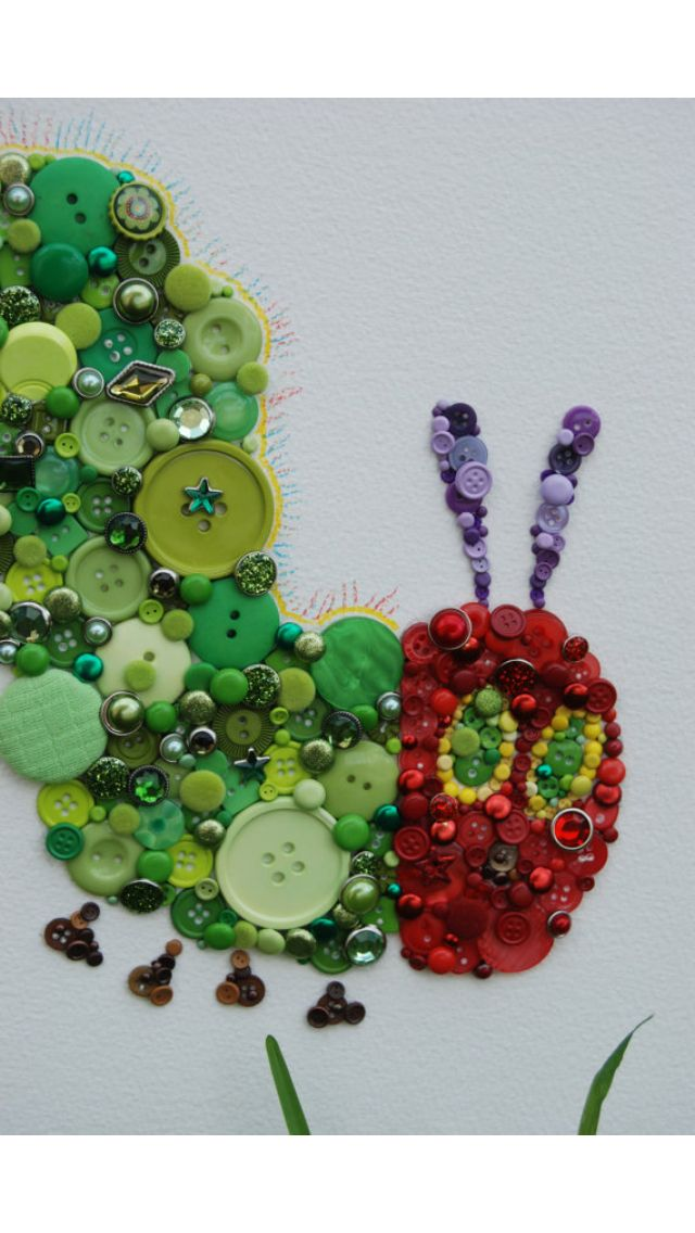 Button and Brad Wall Art - Unframed Very Hungry Caterpillar - http://www.etsy.com/listing/110692739/button-and-brad-wall-art-unframed-very