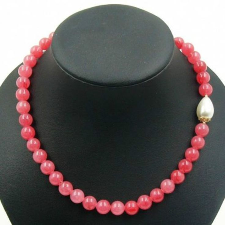 ==> [Free Shipping] Buy Best Vintage Classic Laboratory-created Natural Stone Jewelry Water Melt Rubies Berylle Beaded Strand Necklace with Shell Pearl Online with LOWEST Price   32512630063