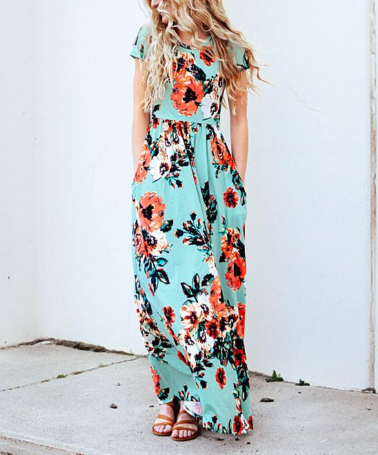 Mint Floral Short-Sleeve Maxi Dress