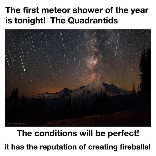 Tag friends! 🔭 One of the best showers of the year peaks today and tomorrow and it's known for having blue fireballs with glowing tails! it's hard to say what time will be best! Look in the north-northeast direction in the sky between the North Star and the Big Dipper. Maybe use a star tracker app that will show you where that is. At its peak it will have 100 meteors per hour, other times will have 25 per hour. There will be hardly any moonlight so the conditions are perfect🚀  This meteor…