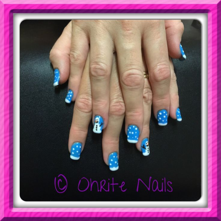 Blue Xmas/ Frozen nails