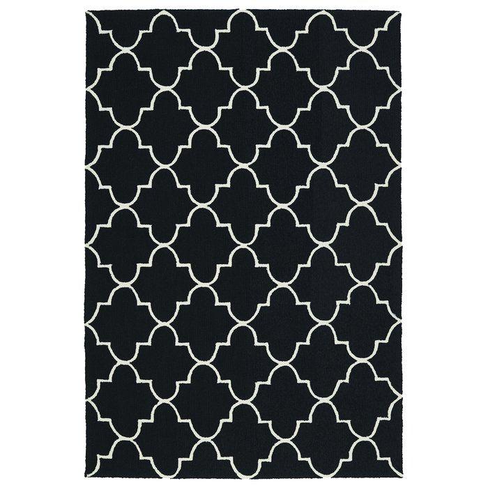 Olivia Black Geometric Hand-Tufted Indoor/Outdoor Rug