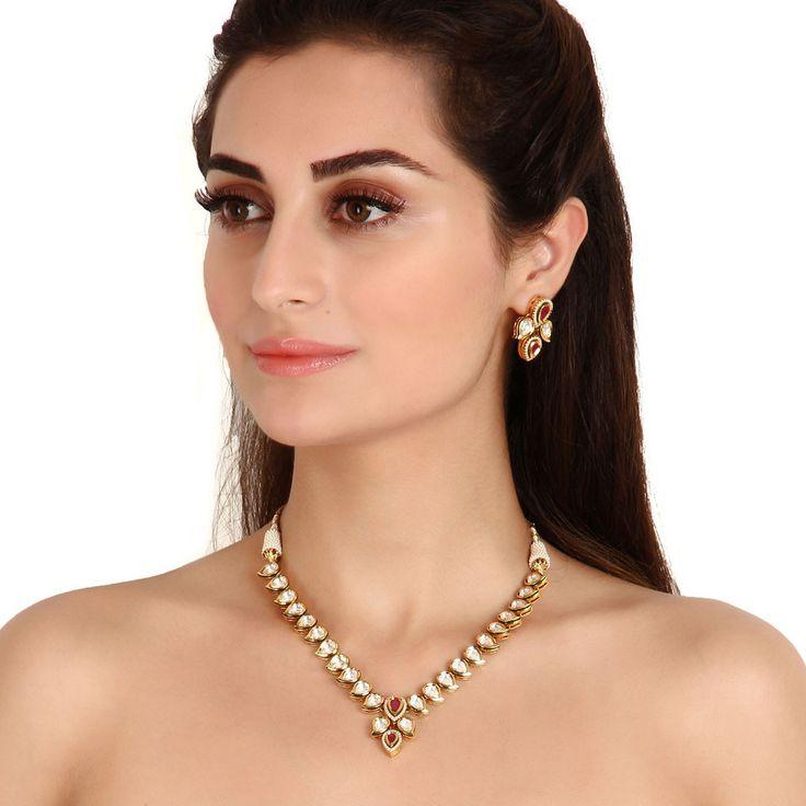 Kundan Necklace TAK87 #Kushals #Jewellery #Fashion #Indian #Jewellery #Necklace #Earrings #Designer #Fashion #choker #chain #Kundan