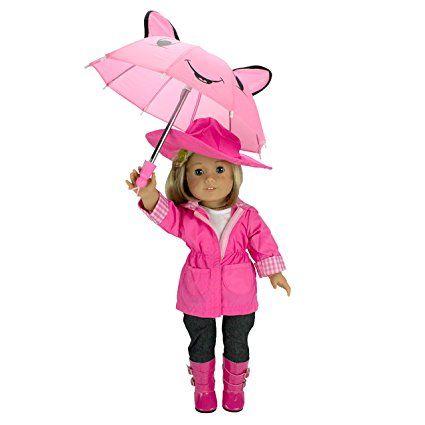 Capa de lluvia ropa de la muñeca de las muñecas American Girl: - Incluye chaqueta de lluvia, paraguas, botas, sombrero, pantalones y camisa