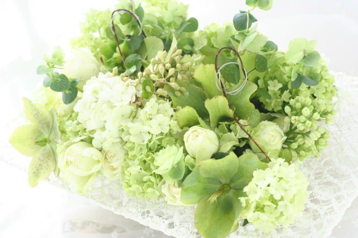 リングピロー  レースフレーム : 一会 ウエディングの花 生花