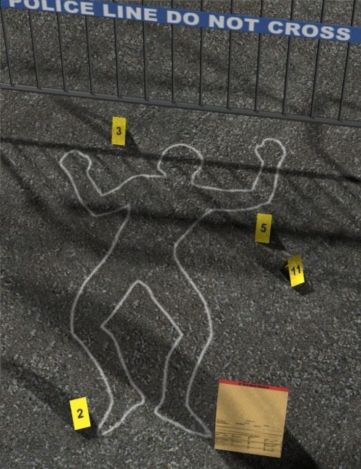 In this picture is a chalk outline of a victims body this ...