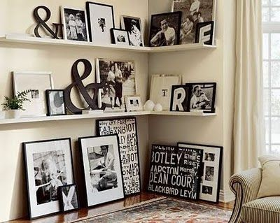 shelves: Photo Display, Decor Ideas, Black And White, Living Room, Galleries Wall, Photo Wall, Black White, Corner Shelves, Pottery Barn
