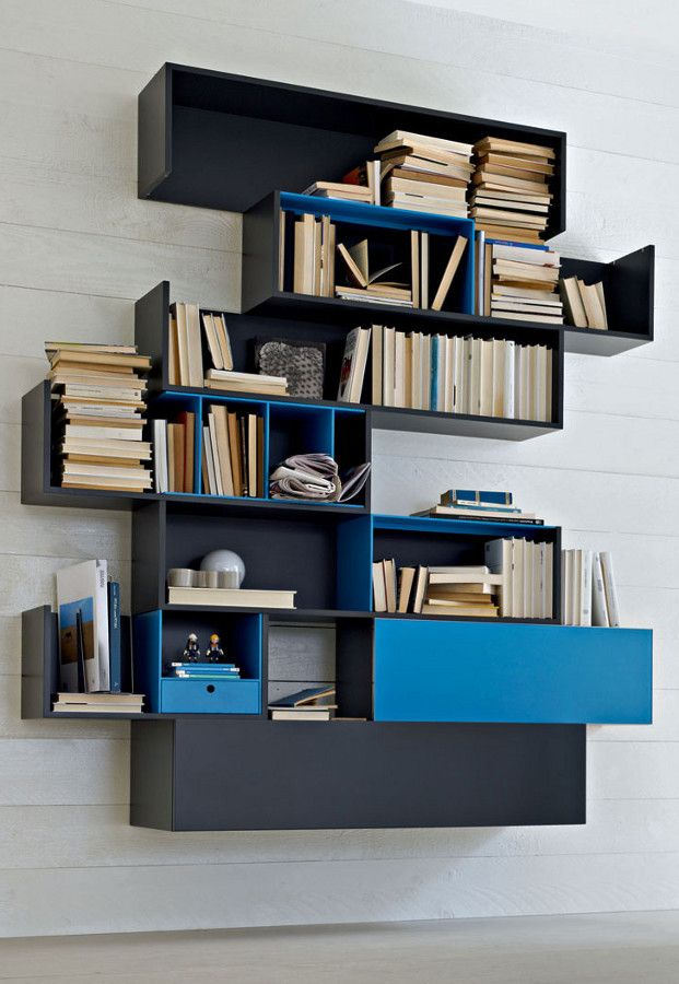 Wall-mounted sectional modular #bookcase FORTEPIANO by MOLTENI & C. @moltenidada