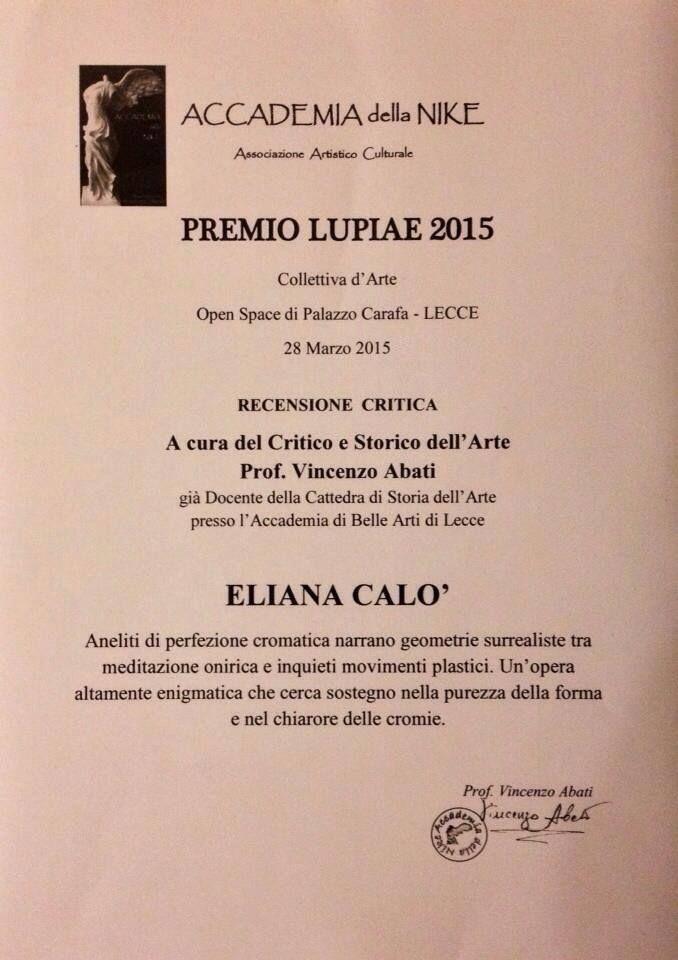 Eliana Calò - Premio Lupie 2015