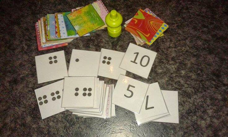 Jungle speed met cijfers en kwadraatbeelden. Dit wordt gespeeld zoals het normale spel van jungle speed. De leerlingen moeten de houten totem nemen wanneer ze evenveel hebben.