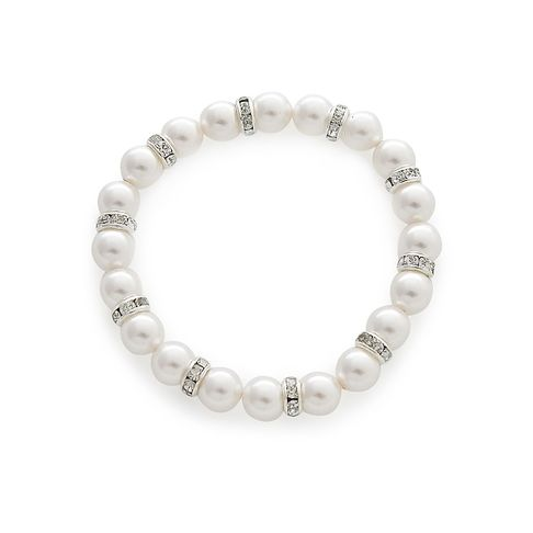 Pearl Bracelet in Silver tone Bridal Jewellery