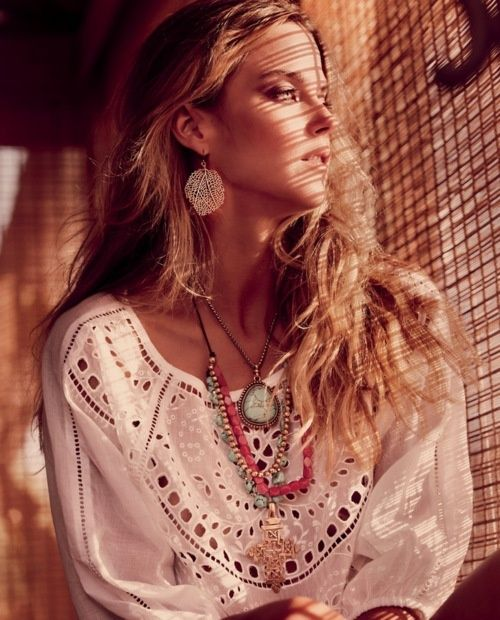 Retro hippie chic, modern boho chic lace top, gypsy style layered necklaces. For the BEST Bohemian jewelry & fashion trends FOLLOW http://www.pinterest.com/happygolicky/the-best-boho-chic-fashion-bohemian-jewelry-gypsy-/