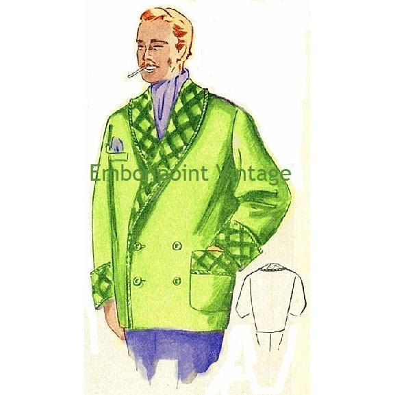 New to EmbonpointVintage on Etsy: Plus Size (or any size) Vintage 1949 Mens Smoking Jacket Sewing Pattern - PDF - Pattern No 100 Rufus (13.11 AUD)