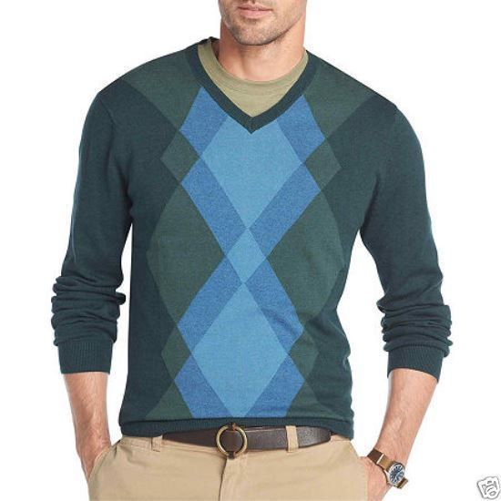 VAN HEUSEN MEN'S V-NECK ARGYLE SWEATER L, XL, XXL. GREEN GABLES. V-NECK PULLOVER. GRAY DARK SHADOW. MACHINE WASH. | eBay!