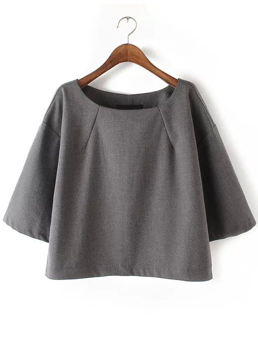 Shop Grey Round Neck Loose Crop Blouse online. SheIn offers Grey Round Neck Loose Crop Blouse & more to fit your fashionable needs.