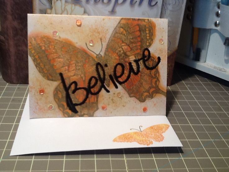 SU Swallowtail stamp with Little Yellow Bicycle Believe stamp embossed on top