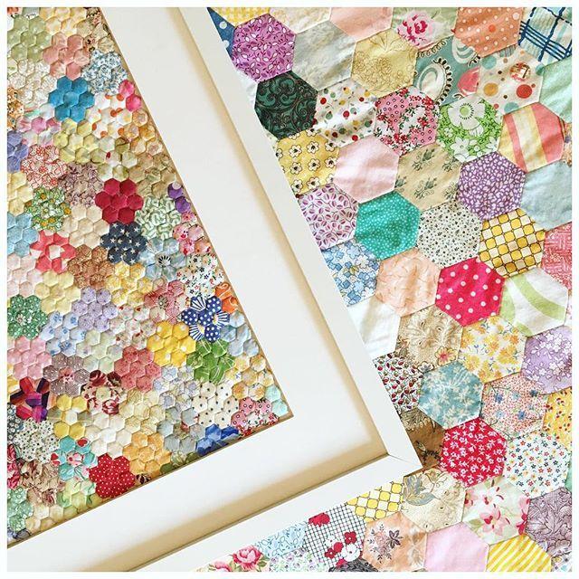 """1/4"""" hexies vs 1"""" hexies?! 😃 #hexagon #hexies #EPP #paperpiecing #miniaturequilt #patchworkquilt #patchwork #quilt #scrapquilt #handmade #handsewn #sewing #instadaily"""