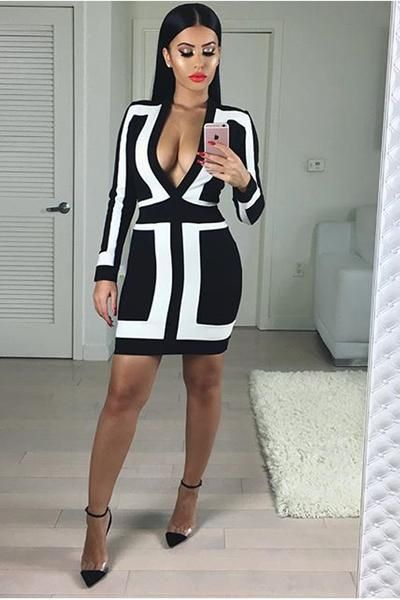 Honey Couture BROOKLYN Black & White Long Sleeve Bandage Dress: Vendor: Honey Couture Type: Bandage Dress Price: 169.95 Sexy figure hugging…