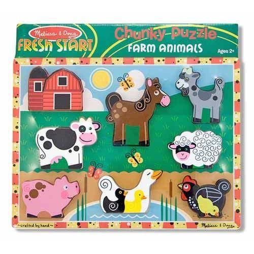 These innvative puzzles feature thick, chunky pieces that fit neatly into the puzzle board, and can also stand up to be used for pretend play! Full-color pictures under pieces!