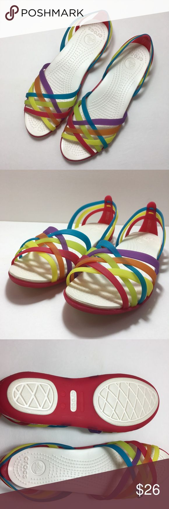 Crocs Huarache Flats Rainbow jelly sandals from Crocs. Size 9. New without tags - only tried on :) CROCS Shoes Sandals