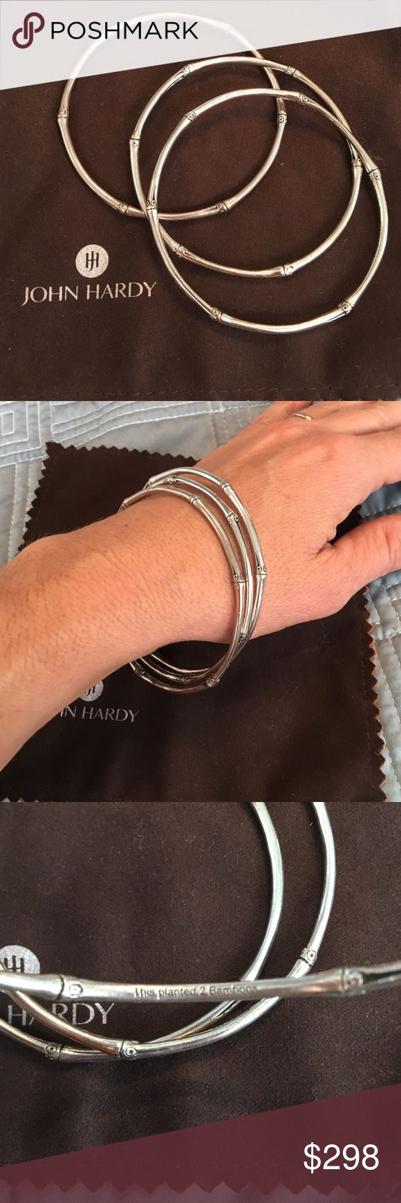 John hardy bamboo bracelets Authentic John hardy bamboo bracelets. 3 silver bracelets. I also have matching necklaces for sale. Like new!! John Hardy Jewelry Bracelets