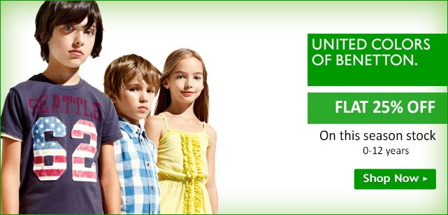 Get FLAT 25% OFF on #brand United Colors Of Benetton on #Kids #clothing.