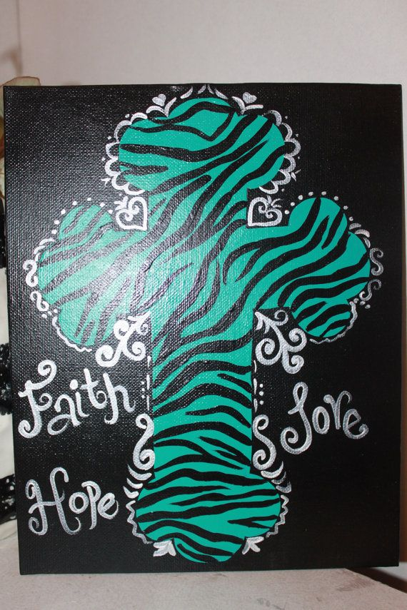 Hand Painted Cross on 8 x 10 canvas  Turquoise by normanfiveart, $12.00