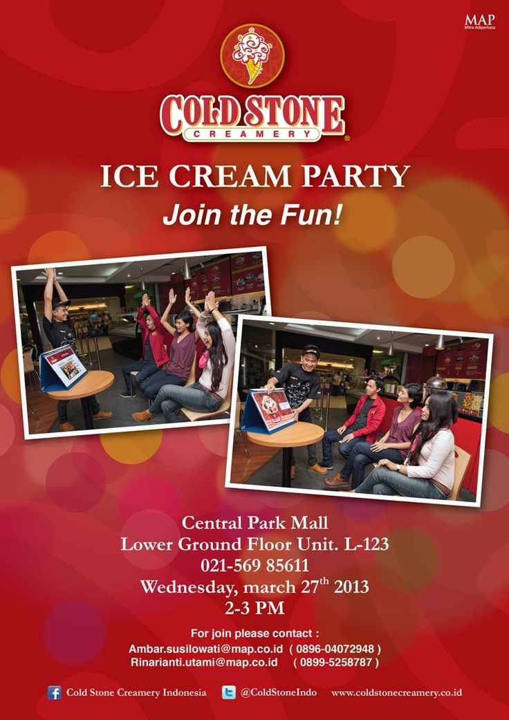 Join the fun at Cold Stone Creamery's Ice Cream Party at Central Park, Wednesday 27 March 2013!