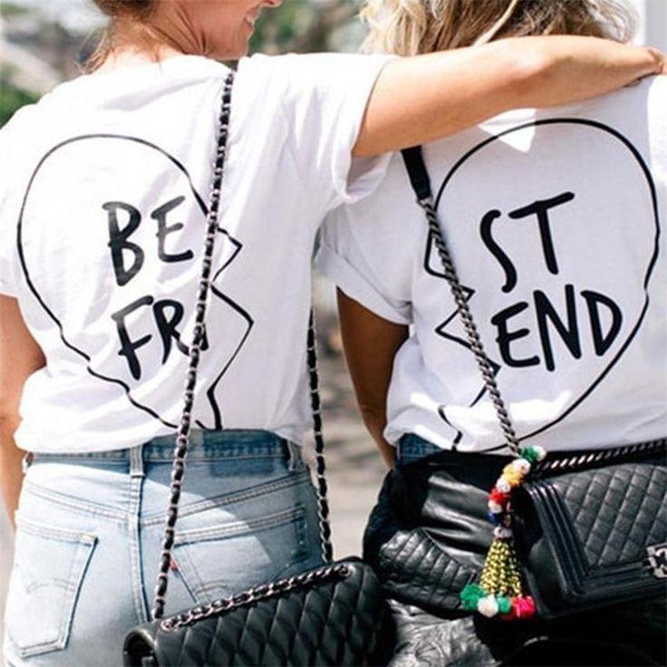 Camiseta Femme melhor amigo bonito letra impressa Tumblr T Shirt da forma das mulheres verão 2016 da marca Cottontshirt Camisetas Mujer