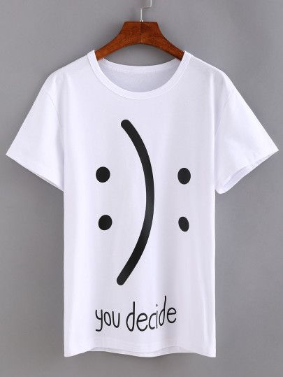 Camiseta estampada de emoticon -blanco                              …