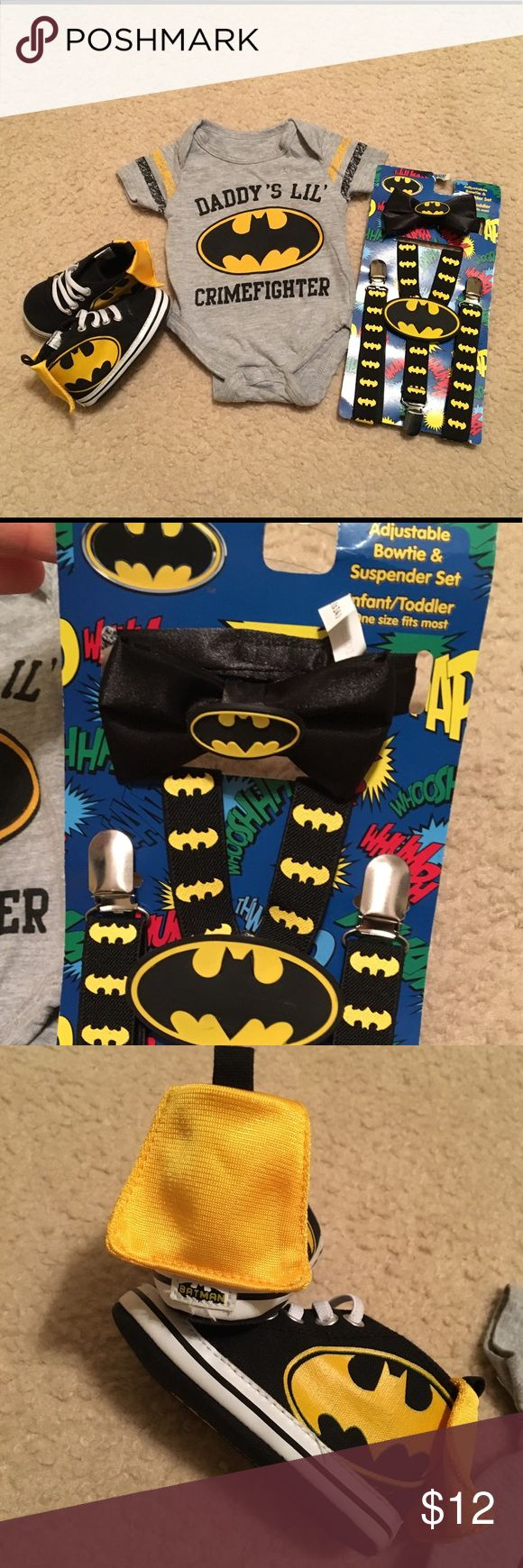 Batman Baby/Toddler Set Onesie Shoes Suspenders Newborn onesie  12-18m soft sole shoes w/ cape on backs  Bow tie & suspenders set (never used) Diaper cover/bloomers w/ cape (never used)   Onesie and shoes were lightly worn but in great condition.  Also have set of Batman PJs for sale. Other